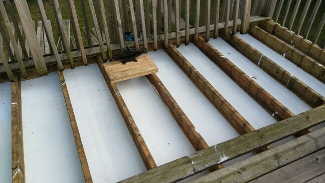 Roof coating decking